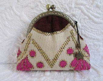 47A - Coin purse - Fabric with Metal Frame, handmade, wallet