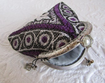 51A - Coin purse - Fabric with Metal Frame, handmade, wallet