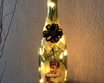 Wine Bottle Light, Home Decor, Recycled, Wine Gift, Birthday, This wine is making me awesome, Vintage Girl, Funny Wine Sayings, Wine Light