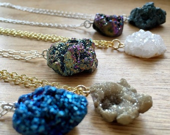 Druzy necklace / raw crystal necklace / rainbow druzy necklace