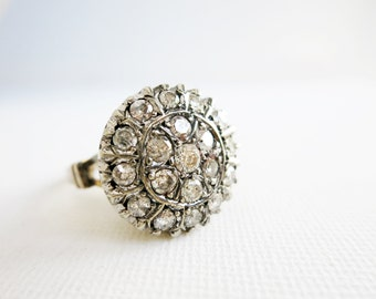 Antique Silver Top and 8K Gold Bottom Round Ring with 19 Brilliant Cut Diamonds in US Ring Size 8