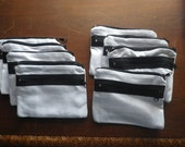 Lot of 8 White Double Zippered Cotton Coin Purse Pouch Craft Project Supply with Black Zipper Purse Bag Sewing Quilting Embroidery