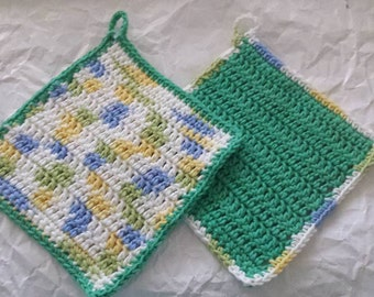 Dishcloths Set of Two in Green Blue and Yellow Colors with Loop for Hanging Crochet Dish Cloths