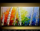 contemporary wall art, Palette Knife Painting,colorful tree painting,wall decor , Home Decor,Acrylic Textured Painting ON Canvas by Chen m09