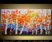 contemporary wall art, Palette Knife Painting,colorful tree painting,wall decor , Home Decor,Acrylic Textured Painting ON Canvas by Chen mm3