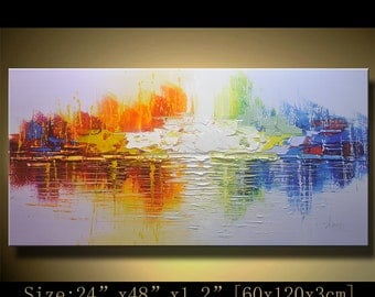 contemporary wall art,, Modern Textured Painting,Impasto  Landscape  Textured Modern Palette Knife Painting,Painting on Canvas by Chen xx40