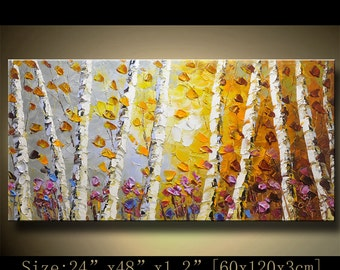 contemporary wall art, Palette Knife Painting,colorful tree painting,wall decor , Home Decor,Acrylic Textured Painting ON Canvas by Chen B02