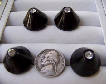 Set of 4 Vintage Plastic Cone Shape Rhinestone Buttons Darkest Brown