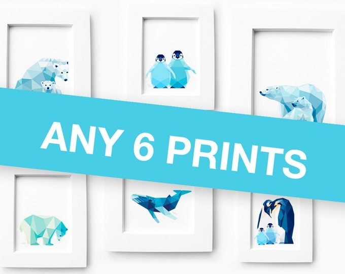 Set of 6 A4 prints, Art set, Print set geometric animal, Deer family, Polar bear, Penguin, Whale print, Baby room art, Nursery art, tinykiwi