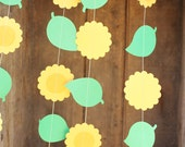 Paper Garland, Sunflower Party Decoration, Birthday Party Decorations, Flower Garland, Birthday Garland, Eco Friendly, 10 ft long