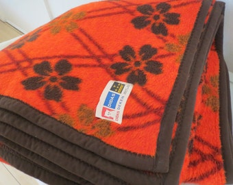 Retro vintage 1970s Didas acrylic blanket dralon dutch blanket from Holland super retro orange blanket