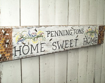 Home Sweet Home Family Name Sign Personalized Engagement Wedding Gift Housewarming Gift Honeybee Herbs Nature Eco Theme Farm Cottage Decor