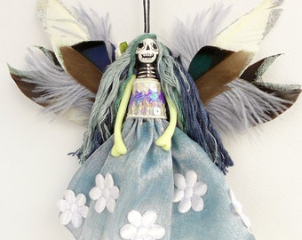 Dead Fairy Ornament, hanging ornament, Day of the Dead Fairy decoration, OOAK