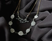 Silver Disk Bib Necklace - Silver and Gold Necklace - Mixed Metal Necklace