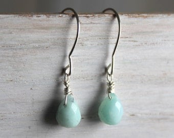 Amazonite Bead Silver Teardrop Earrings - Mint Green Minimal Earrings- Sterling Silver Gemstone Jewelry -Made In Canada