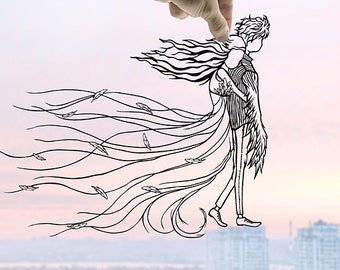 Ghostly Souls - Handmade First Wedding Anniversary Custom Gift - UNFRAMED