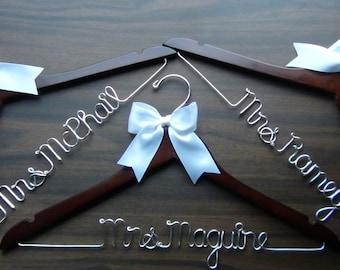 3 Personalized Keepsake Hangers, Custom Made Bridal Hangers,Bridal Shower Gift idea,Wedding Hangers with Names, Wedding Photo Props