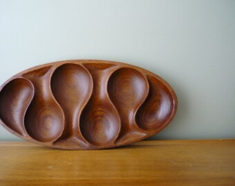 Vintage Teak Sectioned Tray, Mid Century Modern Home Decor, Wood Serving Tray