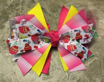 Cupcake Hair Bow - Cupcake Bow - Cupcake Ribbon - Dessert Hair Bow - Dessert Ribbon - Sweets Bow - Baking Hair Bow - Cupcake Party