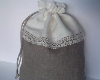 Wedding favor gift bag organic gray linen bridesmaid drawstring lingerie bag gift wrap purse