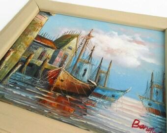 Sailboat Oil Painting, Signed Original, Palette Knife, 10x12 Framed Seascape