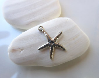 Star Fish charm Sterling Silver 925 oxidized finish--15mm x 18mm-- pendant bracelet charm sea charm silver beach charm STAR04