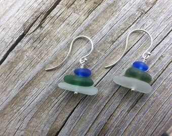 multi-color beach glass stacked earring