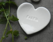 Positive Words Heart Ceramic Ring Dish Inspirational Plate Love White Pottery Bridal Plate Jewelry Dish