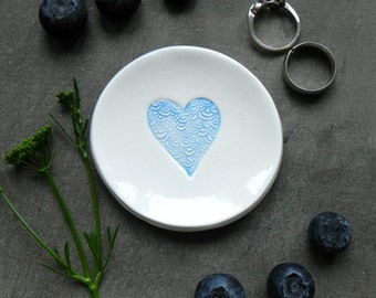 Blue Heart Ceramic Ring Dish Custom Plate Clouds Love White Pottery Lace Bridal Plate Jewelry Dish