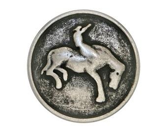 3 Bronco Cowboy 9/16 inch ( 15 mm )  Metal Buttons Antique Silver Color