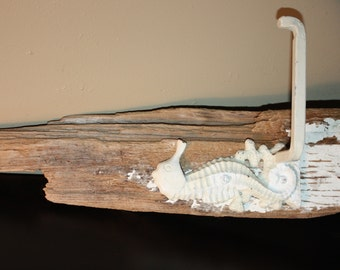 Cast Iron and Driftwood Towel Hook In the Sahpe Of a Seahorse, Off White, Rustic, Beach, Bathroom, Decor, BeachArt