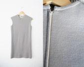 Vintage 1960s Taupe Grey Wool Knit Shift Dress Mini