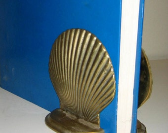 Vintage Brass Clam Shell Bookends