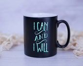I Can and I Will Glitter Printed Effect Motivational Mug