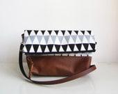 Geometry Crossbody Bag, Fold over, Crossbody Purse, Black and White, Clutch purse, Geometric print