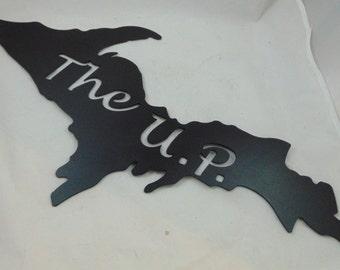 Metal Cutout of the Upper Peninsula of Michigan, U.P. Metal Wall Art