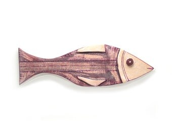Ceramic fish sculpture,  Mouve  color fish, Wall  Animal sculpture, Nautical home decor, Fish decor, Wall hanging pottery fish, Ceramic fish