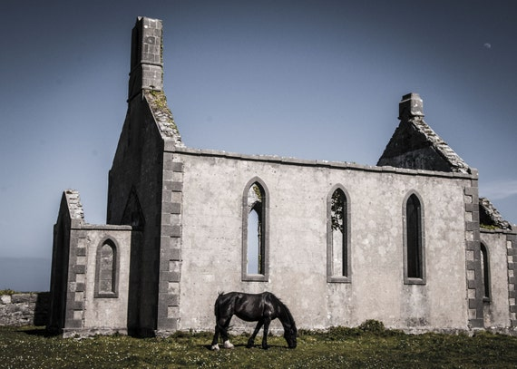 "Inis Mor Church and its equine groundskeeper 18""x12"""