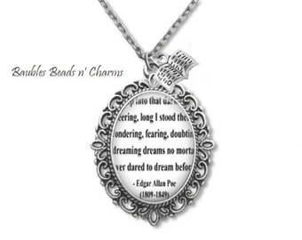 Edgar Allan Poe Quote Necklace,  Poe Book Page Necklace,  Nevermore Necklace, Poe Jewelry, Literary Necklace, Poet Necklace, Literature