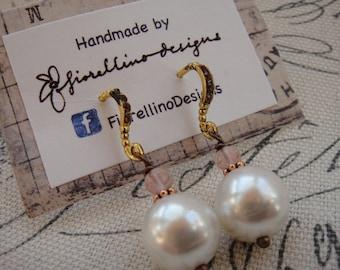 Pink and Pearl Drop Earrings