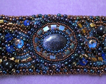 Moonlight Madness Blue Sand Stone Cuff Bracelet