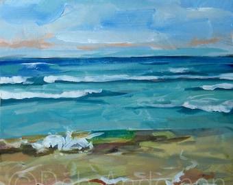 Small Oil Painting of a Waves at Lake Michigan