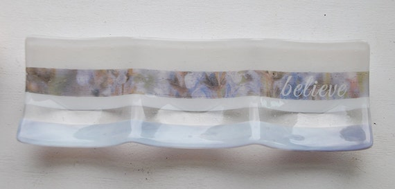 Lavender Believe Glass Fused Dish: 3-part sectional dish/plate 4x12 white, lavender/purple glass with violet imagery