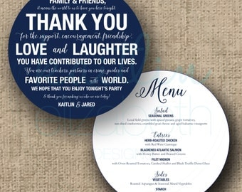 Custom/Printable PDF Menu and Thank You Cards