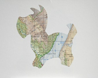 A Scottie from SCOTLAND - Vintage map Art - ready to frame // hand paper cut //