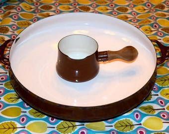 Two vintage chocolate Dansk enamelware pieces.  Paella pan and butter/gravy pan