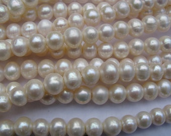 Large Hole Pearls 8mm round Potato Fresh water Pearl 1(one strand) FREE shipping