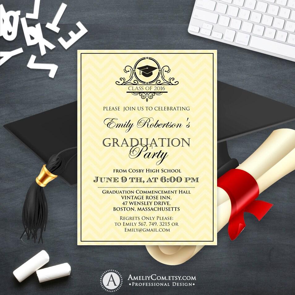 Graduation Invitation Printable Gold College Graduation Party