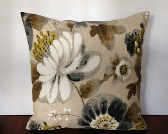 Large white flower print pillow cover