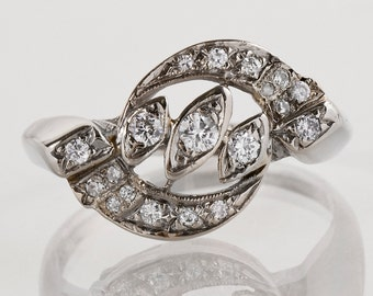 Vintage Diamond Ring - Vintage 1930s 14k White Gold Diamond Ring